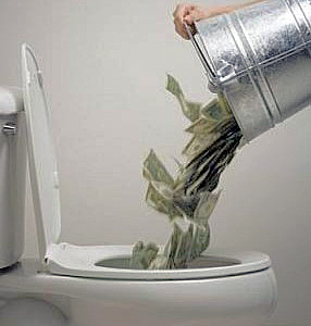 Dollars down toilet